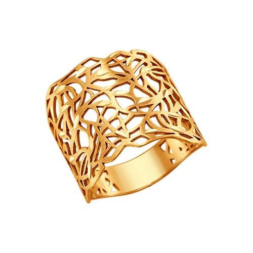Широкое золотое кольцо с алмазной гранью