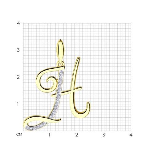 Подвеска буква Н из желтого золота с фианитами 034708-2 SOKOLOV фото 2