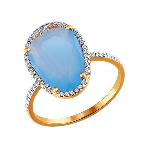 Золотое кольцо с голубым кварцем