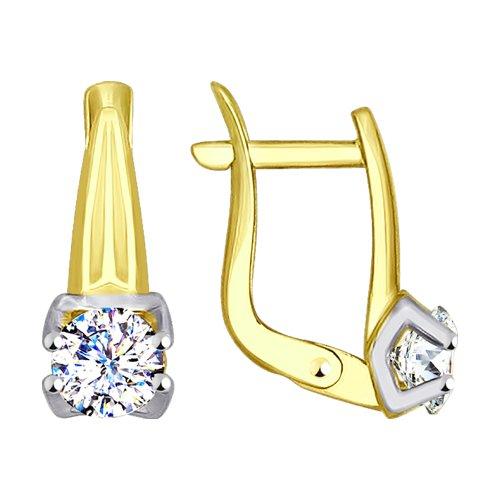 Серьги из желтого золота с фианитами (027572-2) - фото