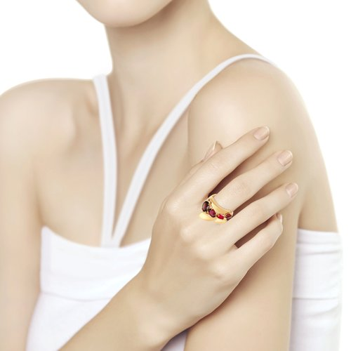 Кольцо из золота с миксом камней (714835) - фото №2