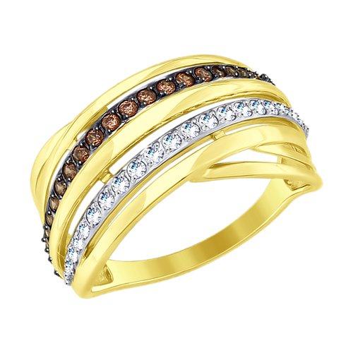 Кольцо из желтого золота с фианитами (017689-2) - фото