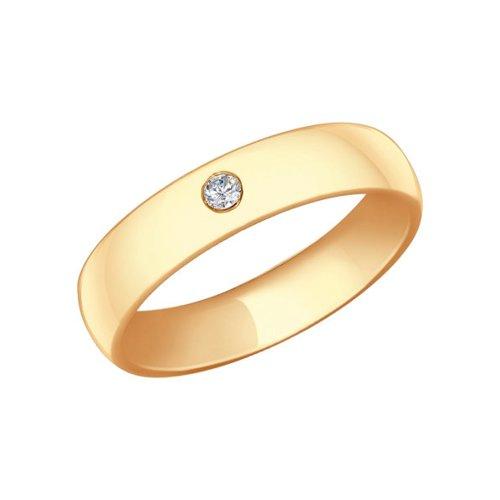 Обручальное кольцо SOKOLOV из золочёного серебра с фианитом обручальное кольцо из серебра с позолотой