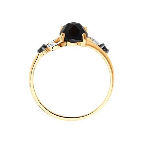 Кольцо из золота с чёрным агатом и бесцветными и чёрными фианитами 715238 SOKOLOV фото 2