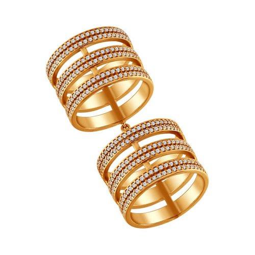 Позолоченное кольцо на две фаланги SOKOLOV