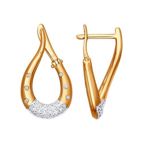Золотые серьги-капли c бриллиантами SOKOLOV