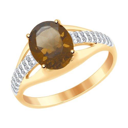 Кольцо из золочёного серебра с раухтопазом и фианитами (92011487) - фото