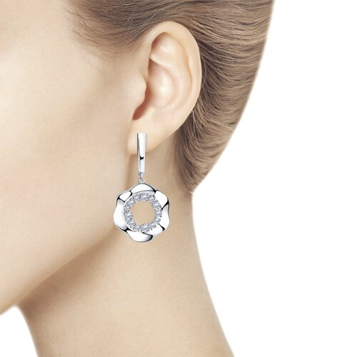 Серьги из серебра с фианитами (94023684) - фото №2