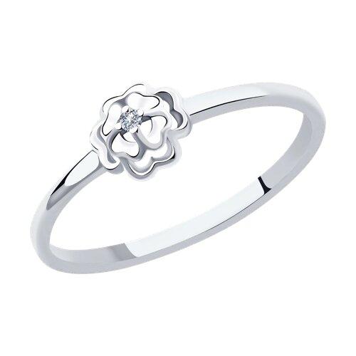Кольцо из белого золота с бриллиантом (1011968) - фото