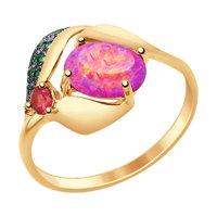 Кольцо из золота с красным корундом (синт.), опалом и зелеными фианитами