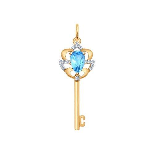 Подвеска из золота с голубым топазом и фианитами