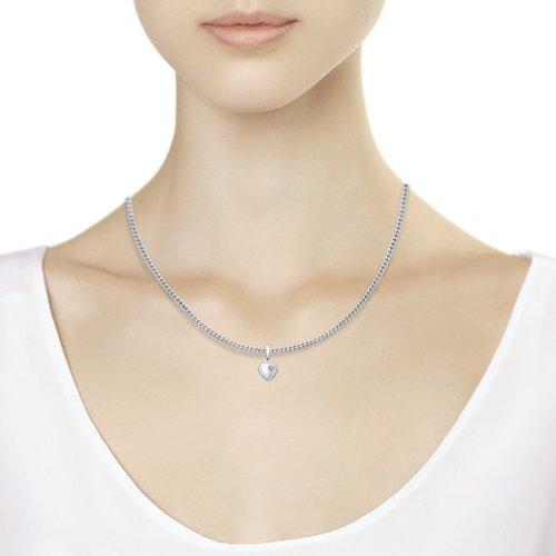 Серебряная подвеска в виде сердца с бриллиантом (87030004) - фото №2