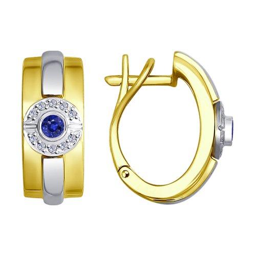 Серьги из комбинированного золота с бриллиантами и сапфирами (2020883-2) - фото