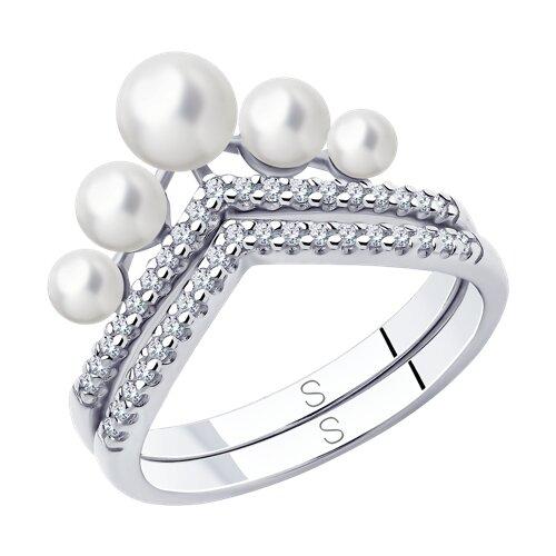 Кольцо из серебра с жемчугом и фианитами (94013100) - фото