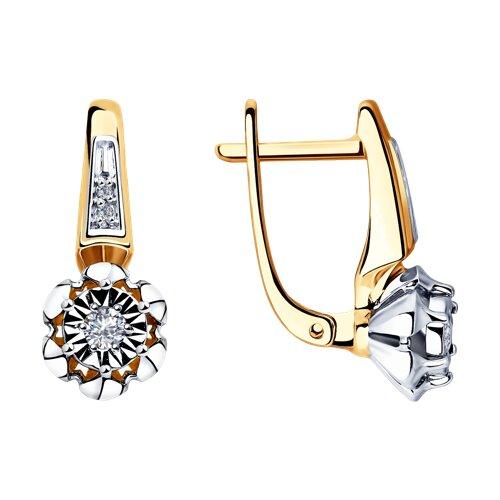 Серьги из комбинированного золота с бриллиантами 1021301 SOKOLOV фото