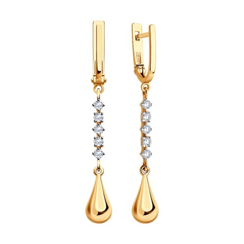 Серьги из золота с фианитами (028335) - фото №2