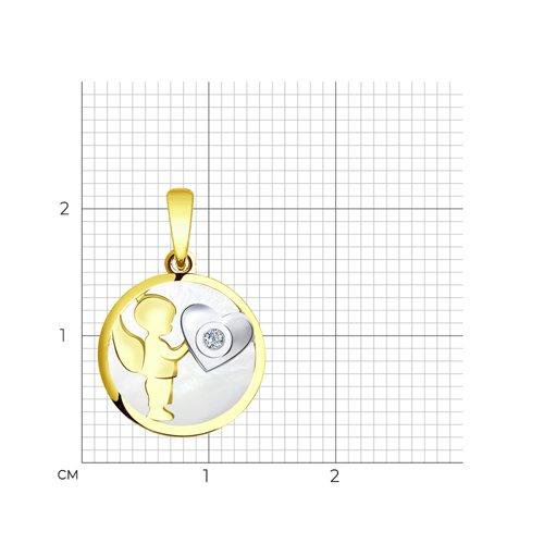 """Подвеска """"Ангелок"""" из желтого золота с бриллиантом и перламутром 1030538-2 SOKOLOV фото 2"""