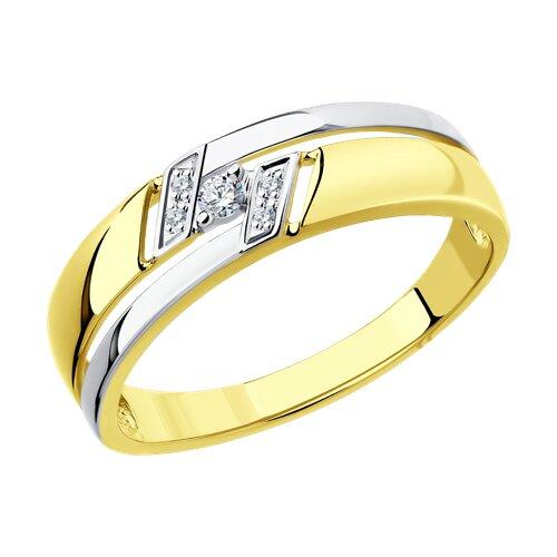 Кольцо из желтого золота с бриллиантами (1011527-2) - фото