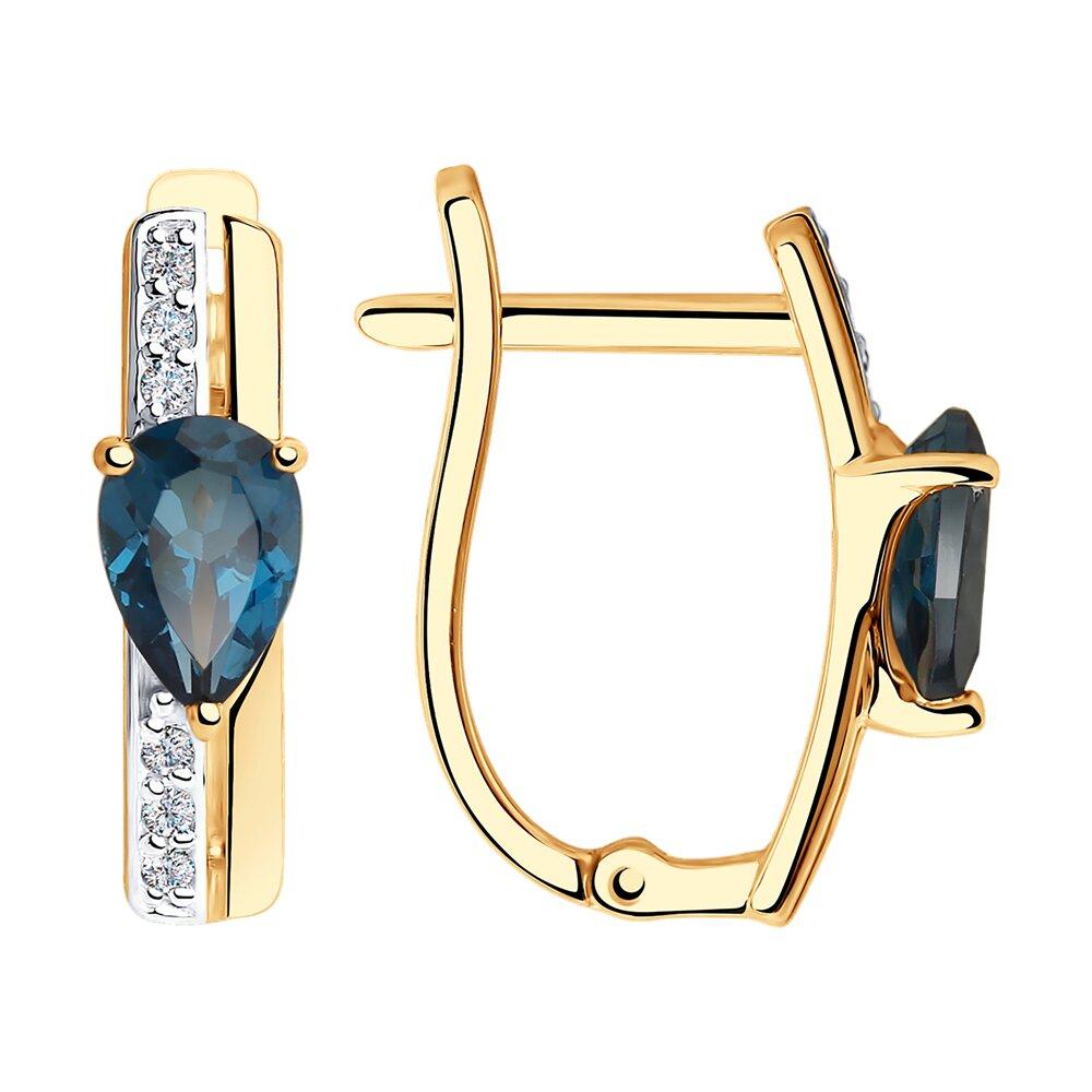 Серьги SOKOLOV из золота с синими топазами и фианитами фото