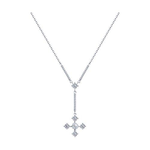 Колье из серебра с фианитами (94070296) - фото
