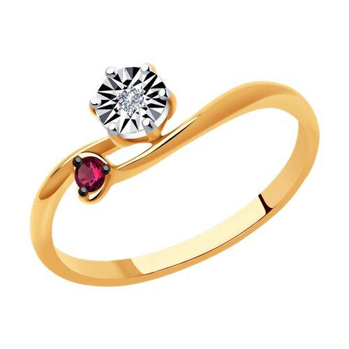 Кольцо из комбинированного золота с бриллиантом и рубином