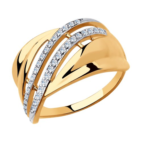 Кольцо из золота с фианитами (018292) - фото