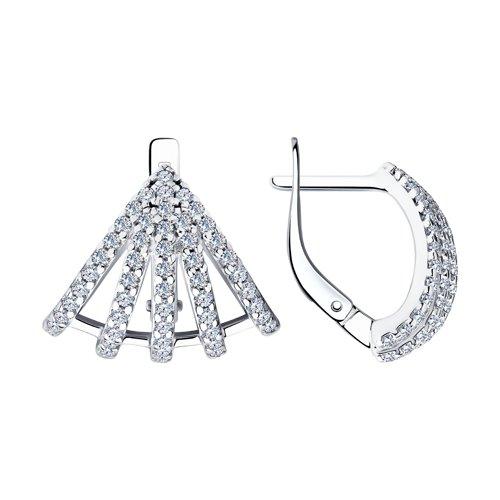 Серьги из серебра с фианитами (94023726) - фото