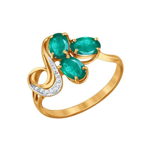 Кольцо из красного золота с бриллиантами и хризопразами