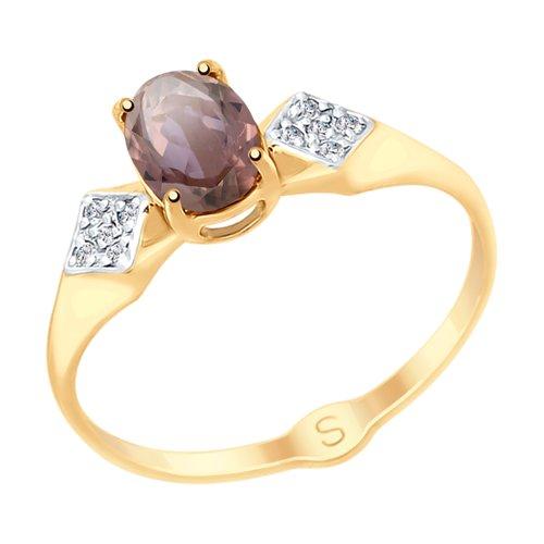 Кольцо из золота с ситаллом султанит и фианитами (715456) - фото