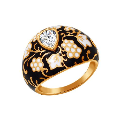 Кольцо с орнаментом чёрно-золотого цвета (93010313) - фото