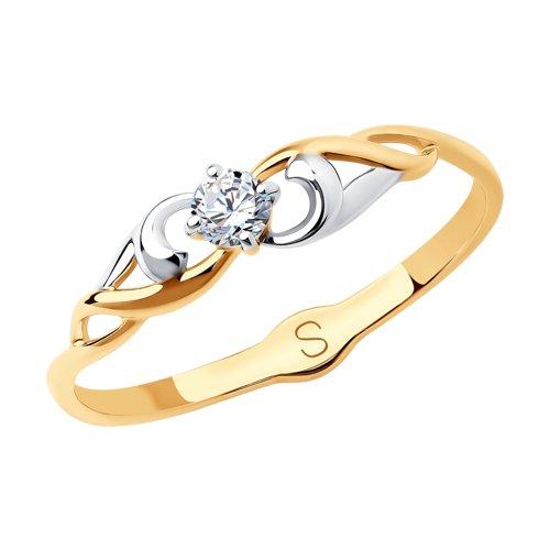 Кольцо из золота с фианитом (017950) - фото