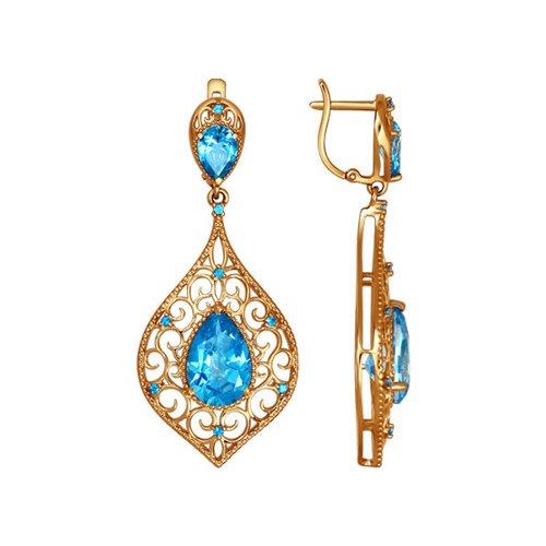 лучшая цена Длинные женские серьги SOKOLOV из золота в восточном стиле с swarovski