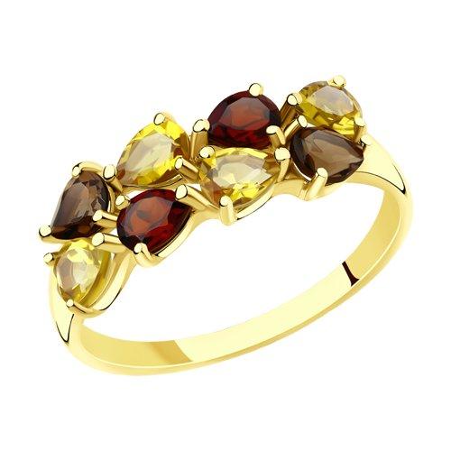 Кольцо из желтого золота с полудрагоценными вставками (715890-2) - фото