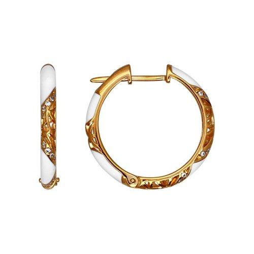 Серьги из золочёного серебра с эмалью с фианитами (93020416) - фото