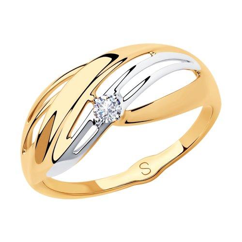 Кольцо из золота с фианитом (018181) - фото