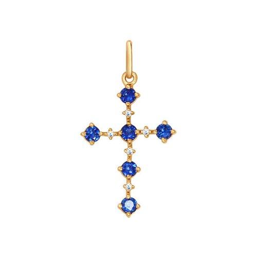 Декоративный крест с бриллиантами и сапфирами SOKOLOV