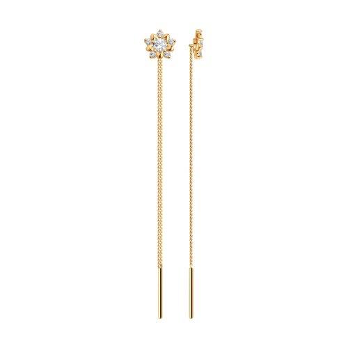 Серьги-цепочки из золота с фианитами (024796) - фото