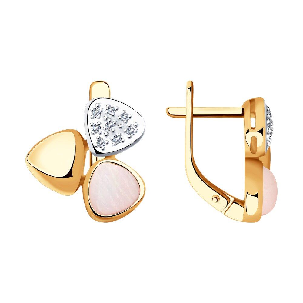 Серьги SOKOLOV из золота с бриллиантами и дуплетами из натурального кварца и перламутра indira перуанские серьги из настоящего перламутра