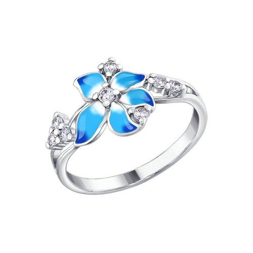 Кольцо цветок с голубой эмалью