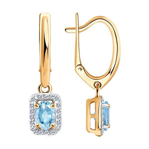 Серьги из золота с бриллиантами и аквамаринами
