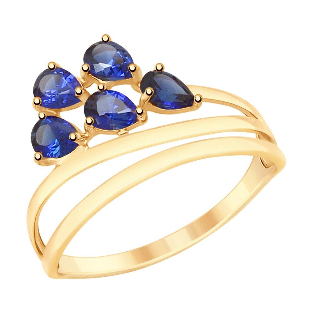 Кольцо SOKOLOV из золота с синими корунд (синт.) gucci пуховик с синт наполнителем