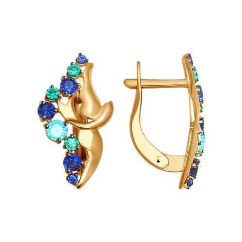 Серьги из золота с зелеными и синими фианитами
