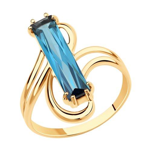 Кольцо из золота с синтетическим ситалом (715799) - фото