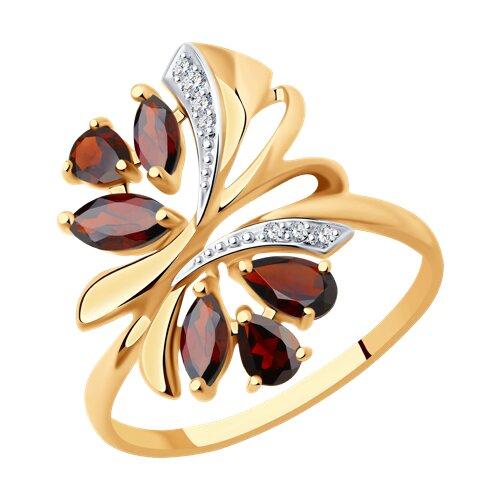 Кольцо из золота с гранатами и фианитами (714737) - фото