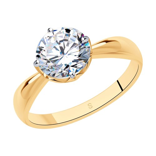 Кольцо из золочёного серебра со Swarovski Zirconia (89010098) - фото