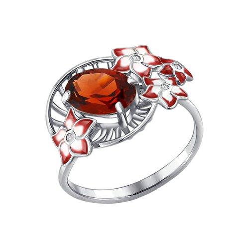 Кольцо «Цветы» c красной эмалью и гранатом