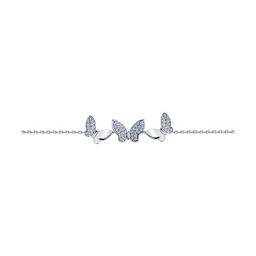 Браслет из серебра с фианитами (94050500) - фото