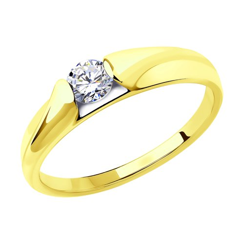 Кольцо из желтого золота с фианитом (018446-2) - фото