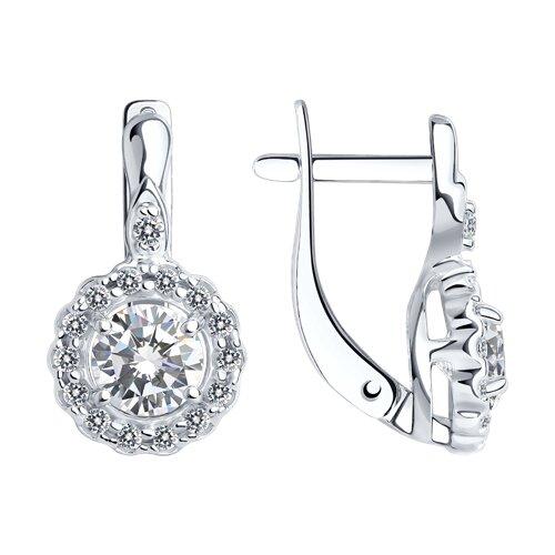 Серьги из серебра с фианитами (94022571) - фото
