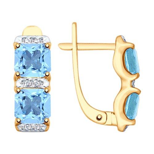Серьги из золота с топазами и фианитами (37725347) - фото